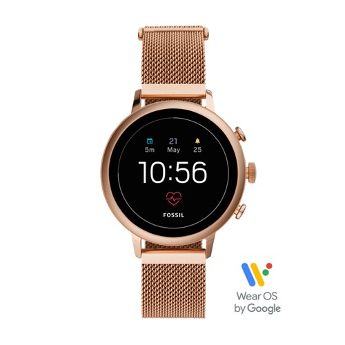 fossil Gen 4 Smartwatch - Venture HR Rose Gold-Tone Stainless Steel Mesh FTW6031