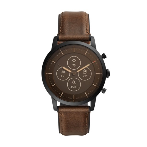 Hybrid Smartwatch HR Collider Dark Brown Leather FTW7008