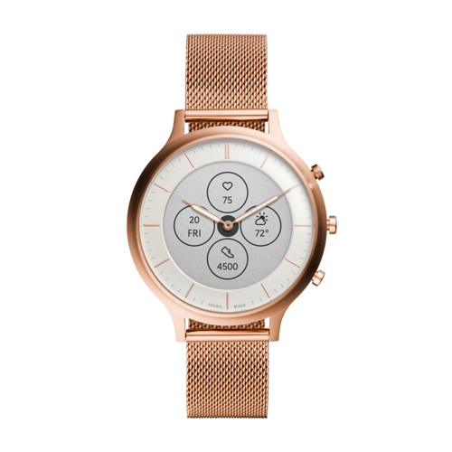 Hybrid Smartwatch HR Charter Rose Gold-Tone Stainless Steel Mesh FTW7014