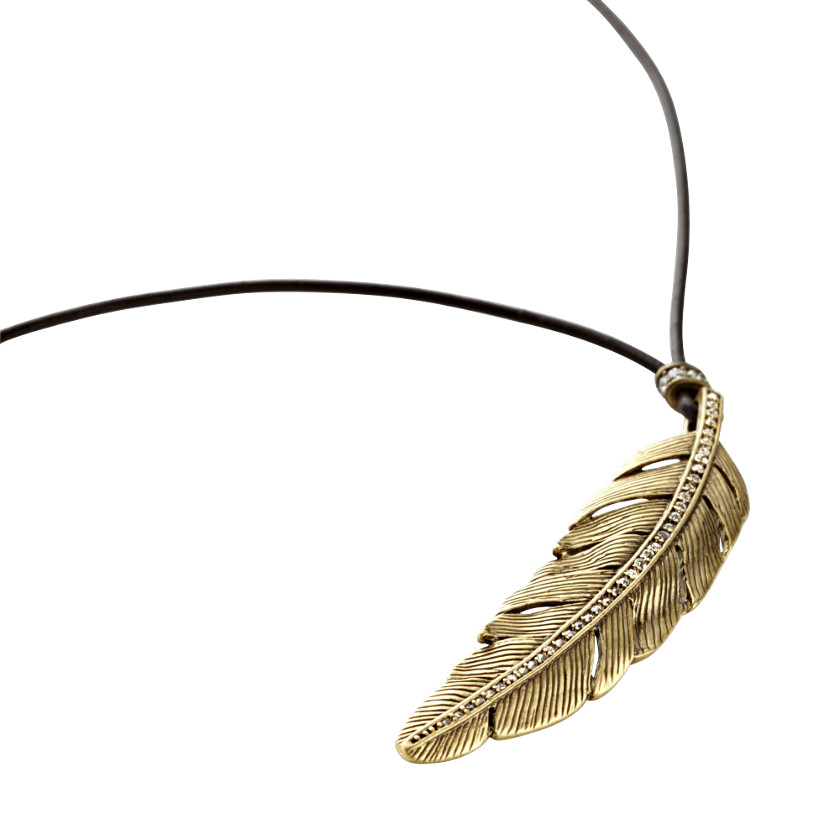 FOSSIL® Jewelry Necklaces:Womens Rare Feather Pendant Necklace JA4773 :  designer jewelry charm pendant necklace charm necklace jewelry