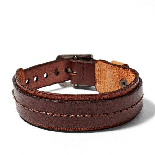 fossil Stitched Leather Bracelet JA6323797