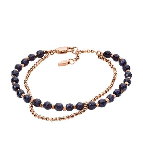 Fossil Shimmer Glass Stone Double Chain Bracelet JA6853791