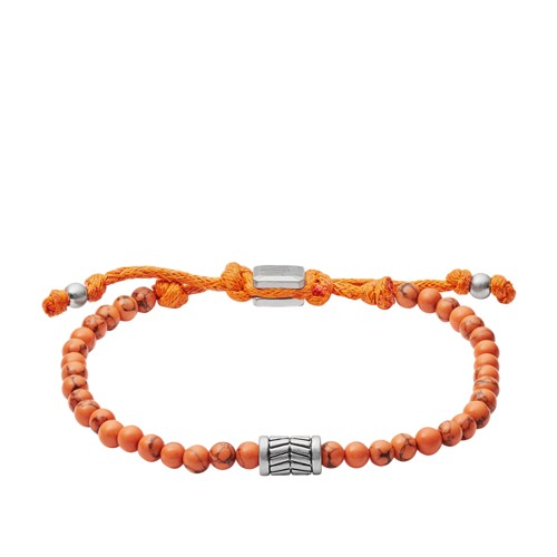 Fossil Vintage Casual Orange Beaded Bracelet JA6886040