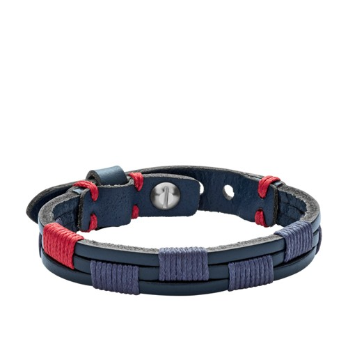 Fossil Vintage Casual Blue Leather Bracelet JA6911040