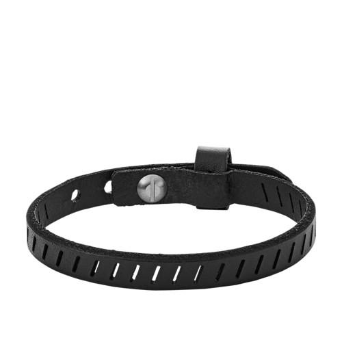 Fossil Vintage Casual Black Leather Bracelet Ja6925040