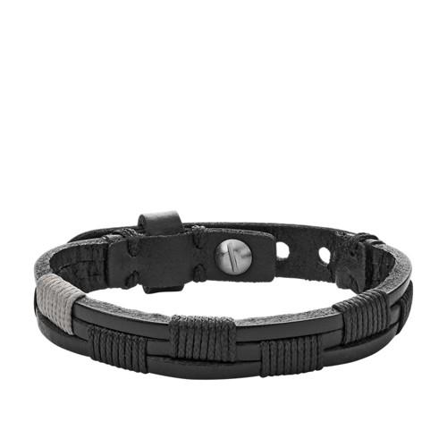 Fossil Vintage Casual Black Leather Bracelet Ja6931040