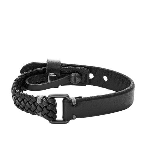 Fossil Vintage Casual Black Leather Bracelet JA6932001