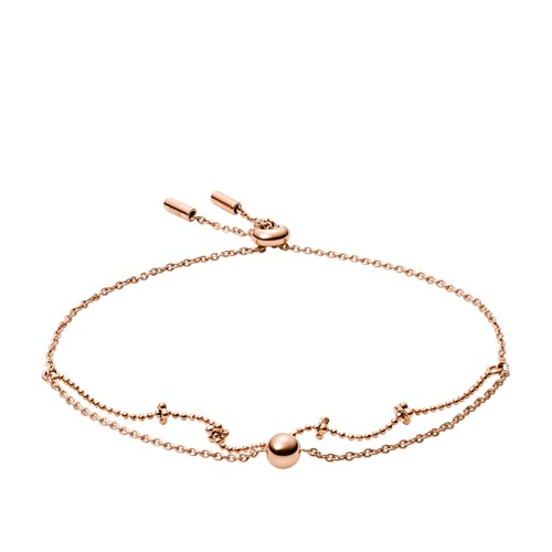 fossil Double Rose Gold-Tone Brass Bracelet JA6974791