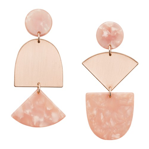 fossil Iridescent Rose Gold-Tone Brass Earrings JA6986791