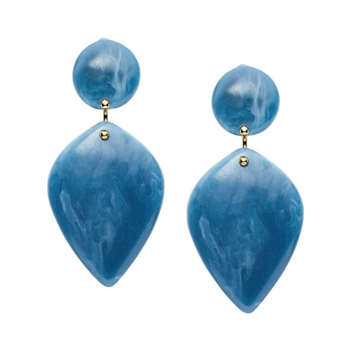 fossil Teardrop Regatta Blue Resin Earrings JA6989710