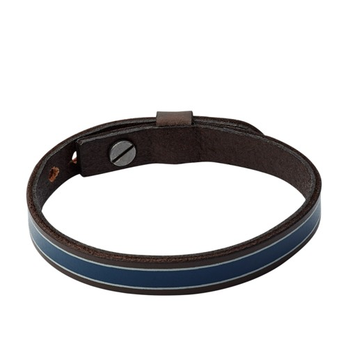 Striped Blue Leather Bracelet JA7000040