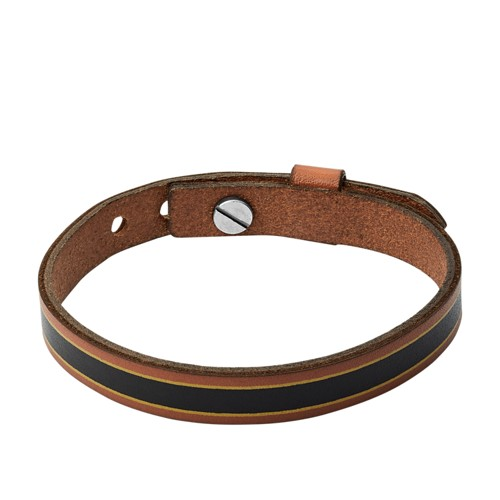 Striped Brown Leather Bracelet JA7001040