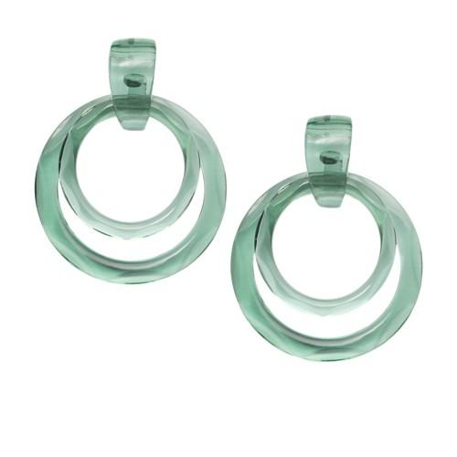 Fossil Jelly Pops Aloe Green Resin Hoop Earrings  jewelry SILVER
