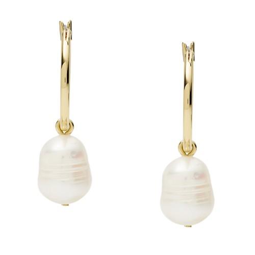 Fossil Imitation Pearl Gold-Tone Brass Hoops  jewelry JA7050710