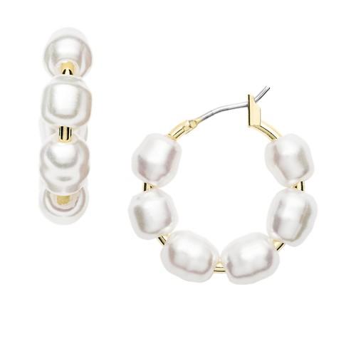 Fossil Imitation Pearl Gold-Tone Brass Hoops  jewelry JA7052710