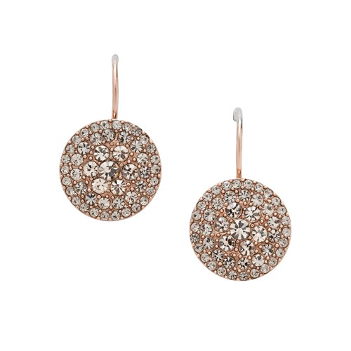 fossil Glitz Disc Earring - Rose JF00135791