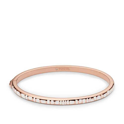 Fossil Enamel Dipped Rose Gold-Tone Bangle Jf02298791