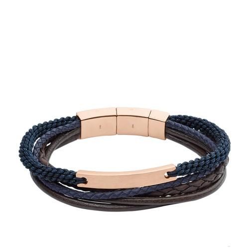 Fossil Vintage Casual Rose Gold-Tone Steel Multi-Strand Bracelet JF02379791