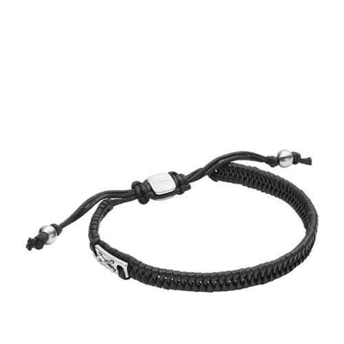 Fossil Vintage Casual Black Leather Bracelet JF02466040