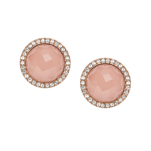 Fossil Pink Stone Rose Gold-Tone Studs JF02498791