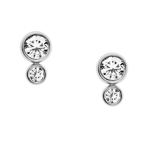 Fossil Glitz Silver-Tone Steel Earrings JF02526040