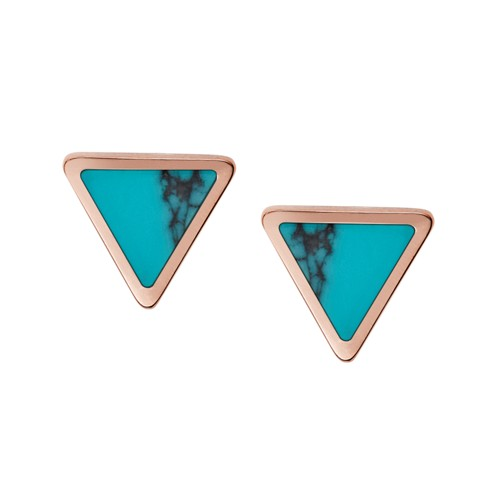Fossil Turquoise Triangle Studs JF02638791