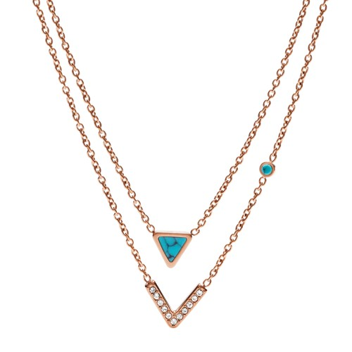 Fossil Turquoise Double-Strand Convertible Necklace JF02644791