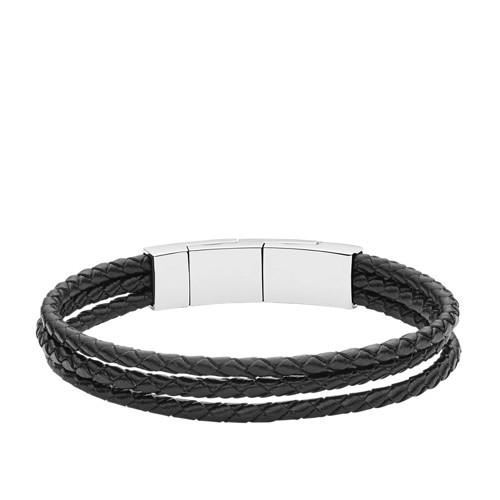 Fossil Black Multi-Strand Leather Bracelet Jf02682040