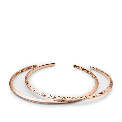 Fossil Diamond-Etched Double-Cuff Bangle Jf02734791