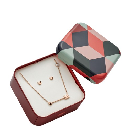 Fossil Chevron Studs and Arrow Necklace Gift Set JF02814791