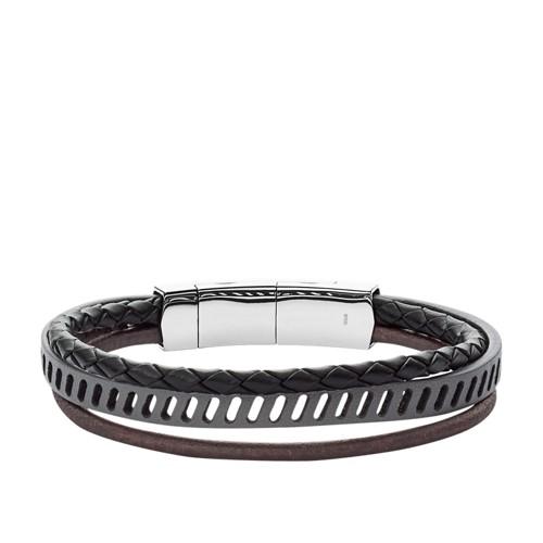 Fossil Vintage Casual Multi-Strand Black Leather Bracelet Jf02828040