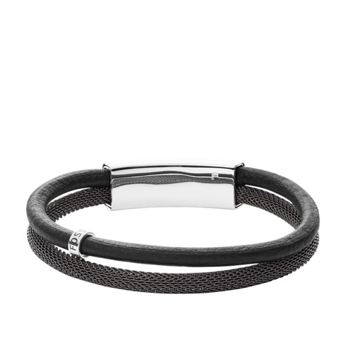 Fossil Vintage Casual Gray Leather Double Bracelet JF02829040