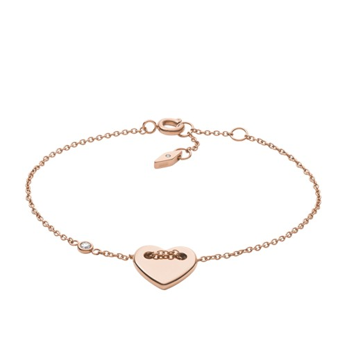 Fossil Heart Rose-Gold Tone Steel Bracelet JF02831791
