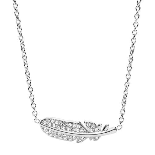 Fossil Feather Glitz Steel Necklace Jf02851040