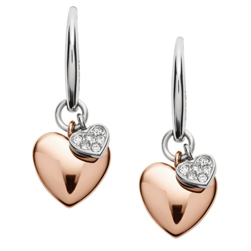 Fossil Double Heart Two-Tone Steel Earrings JF02852998