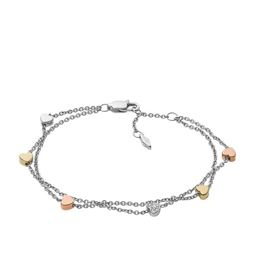 Heart Tri-Tone Steel Double-Chain Bracelet JF02854998
