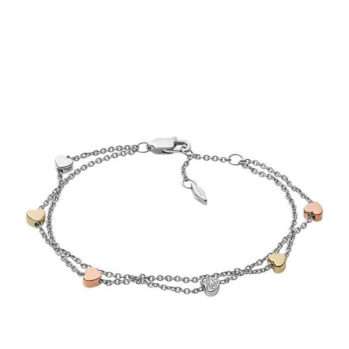 Fossil Heart Tri-Tone Steel Double-Chain Bracelet JF02854998