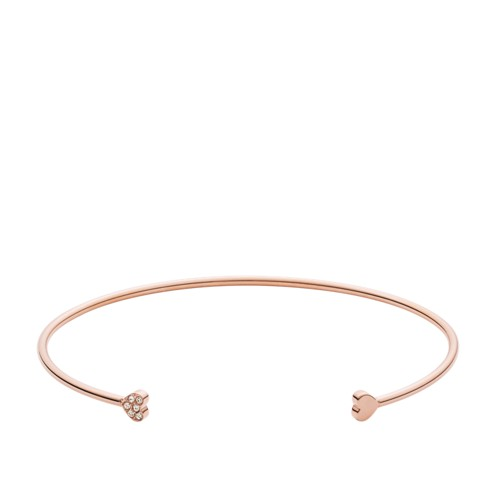 Fossil Heart Rose Gold-Tone Steel Open Cuff JF02855791