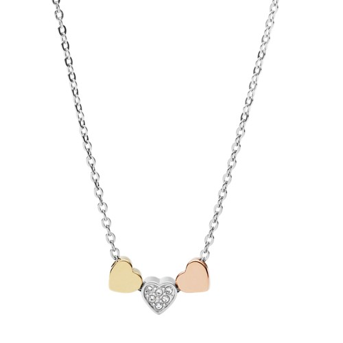 Fossil Heart Tri-Tone Steel Necklace JF02856998