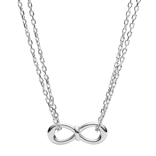 Fossil Infinity Knot Double-Chain Steel Necklace JF02866040
