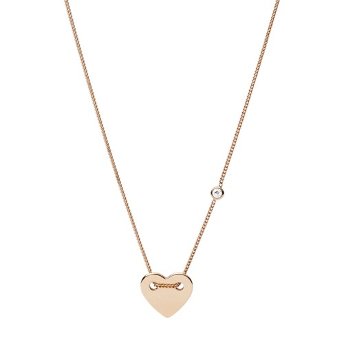 Fossil Heart Rose-Gold Tone Steel Necklace JF02868791