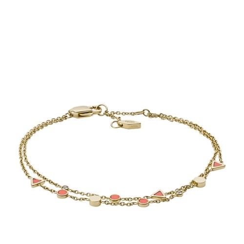 Fossil Geometric Semi-Precious Double-Chain Bracelet Jf02893710 Jewelry - JF02893710-WSI
