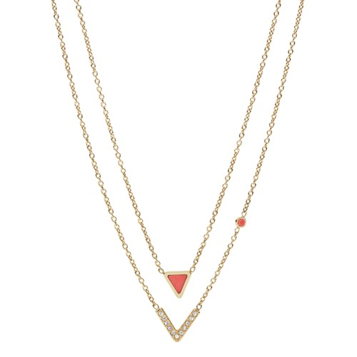 Fossil Geometric Gold-Tone Steel Necklaces JF02894710