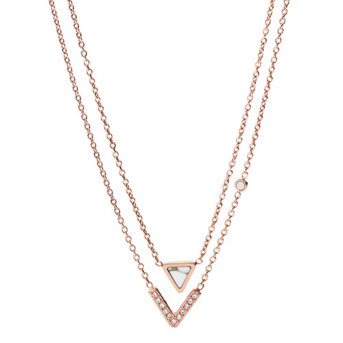 Fossil Geometric Rose Gold-Tone Steel Necklaces JF02897791