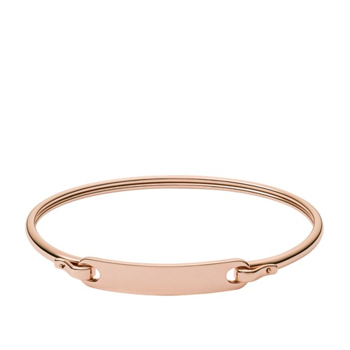 Fossil Engravable Plaque Rose Gold-Tone Steel Bracelet JF02900791