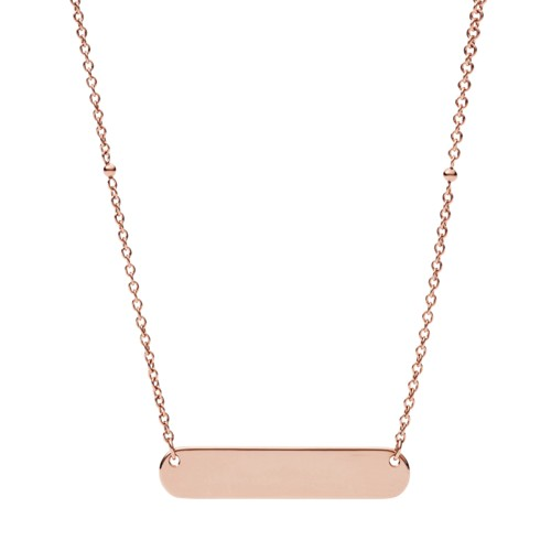 Fossil Engravable Plaque Rose Gold-Tone Steel Necklace JF02901791