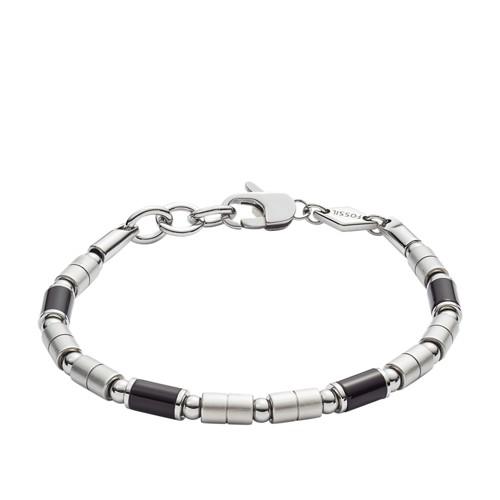 fossil Black Agate Stainless Steel Bracelet JF02924040