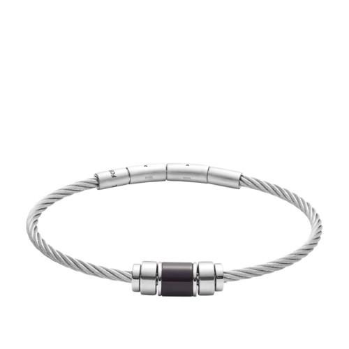 fossil Black Agate Stainless Steel Rondell Bracelet JF02925040