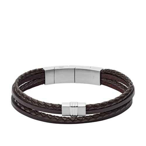 Brown Multi-Strand Braided Leather Bracelet JF02934040