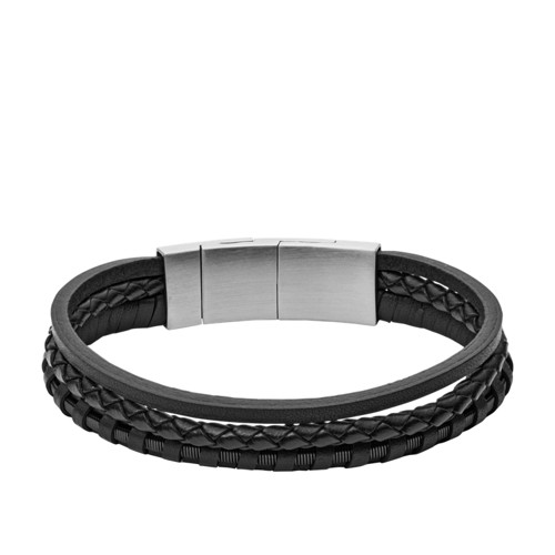 Black Multi-Strand Braided Leather Bracelet JF02935001